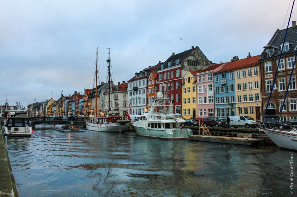 Luxury yachts lined up along Nyhavn