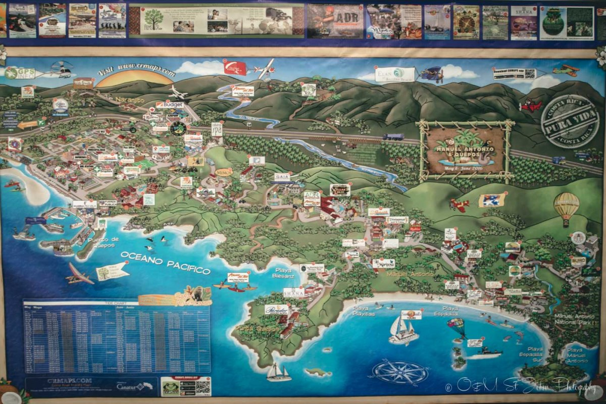 Map of Manuel Antonio and surrounding area, Puntarenas, Costa Rica