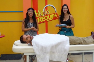 TV show in Arequipa, Peru. We did 3 guestings demonstrating Ayurveda Massage Therapy. Photo courtesy of Two Monkeys Travel