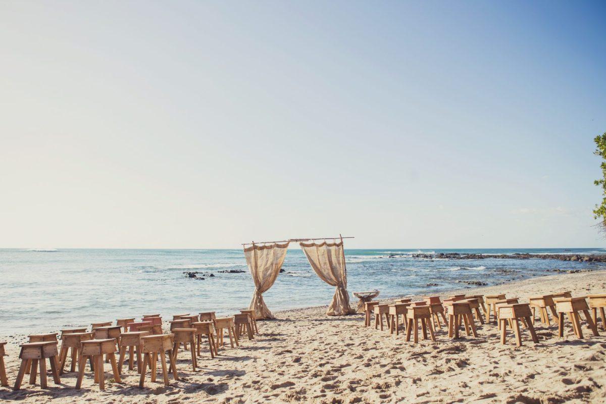 Ceremony set up. Playa Lagartillo. Costa Rica