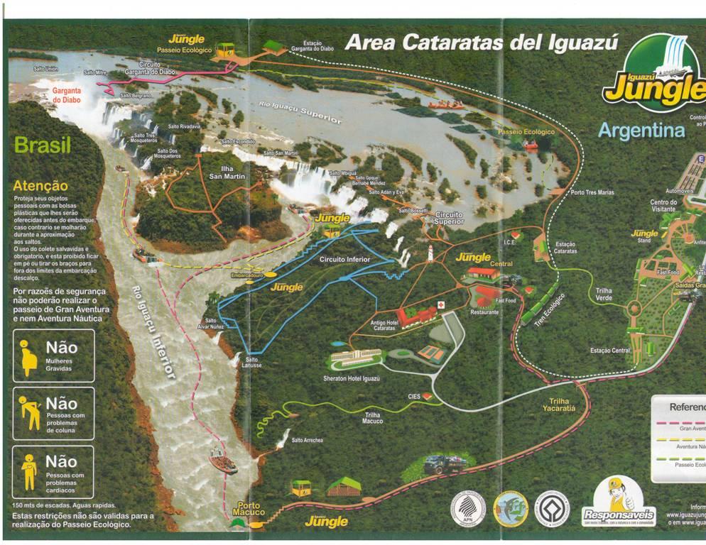 Map of Iguazu Falls Argentina