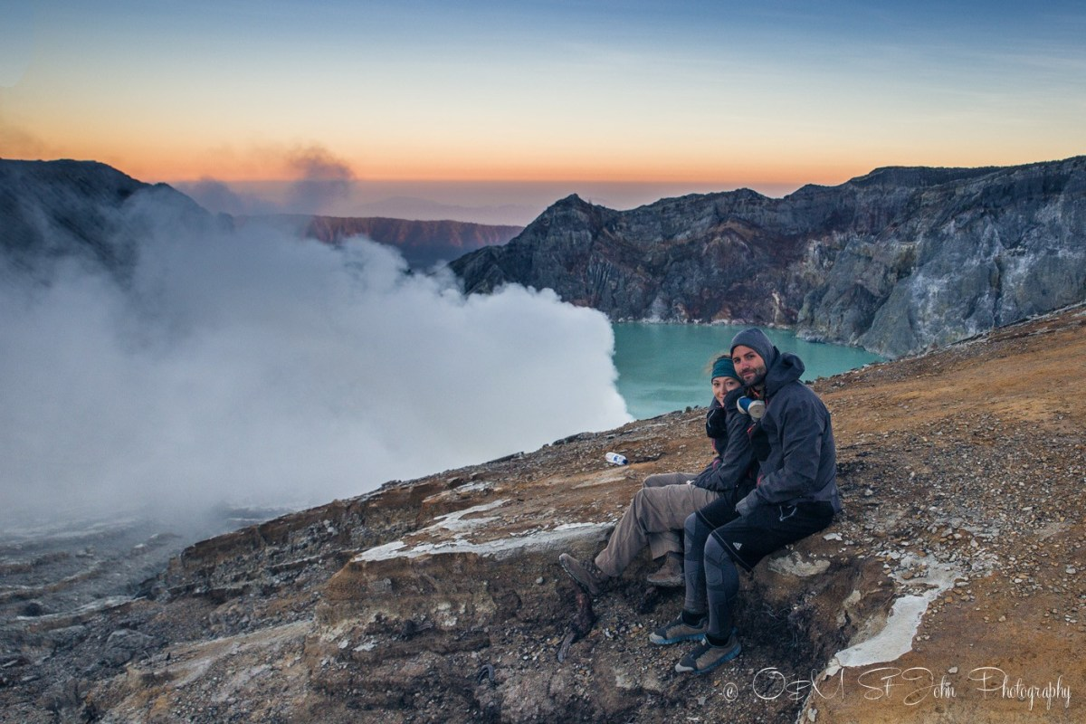 Admiring the views at sunrise. Ijen Crater. East Java. Indonesia