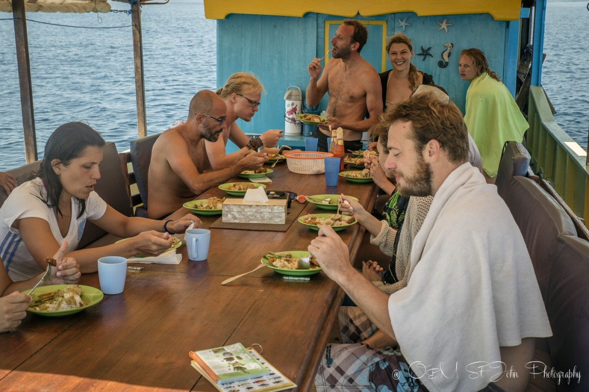 Lunch time on Uber Scuba Komodo day boat. Diving in Komodo