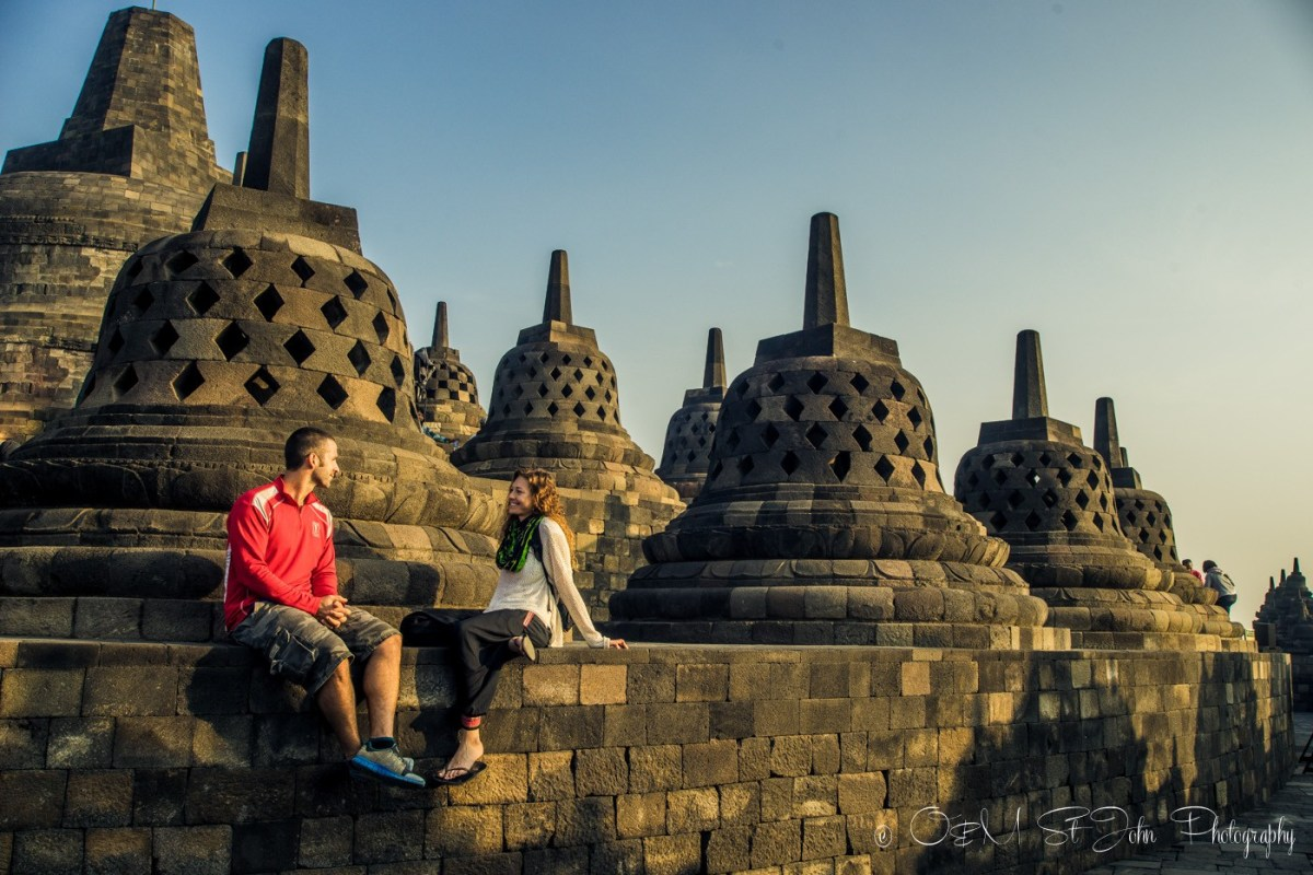 Enjoing our time at Borobudur without the crowds. Java. Indonesia