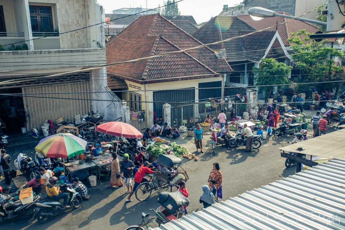 Pop up market on Jalan Poncowican, Yogyakarta. Java Indonesia