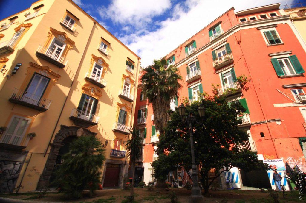 Coloured buildings in Naples, Amalfi Coast, Italy