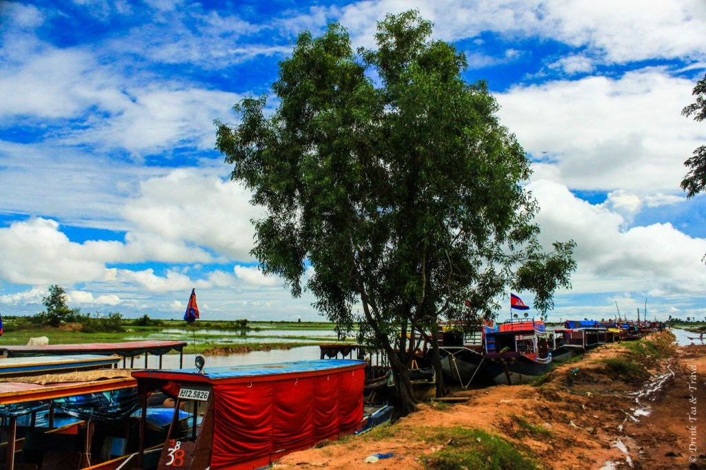 Boats waiting to pick up passengers at Tonlé Sap