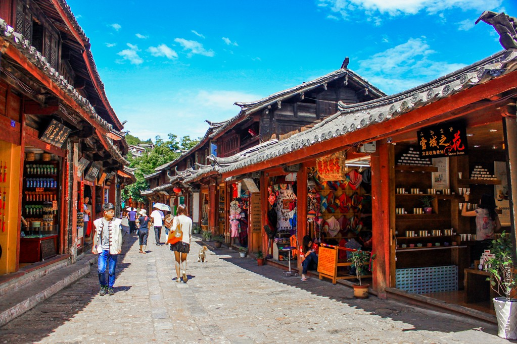 Shops lining the streets in Lijiang, China