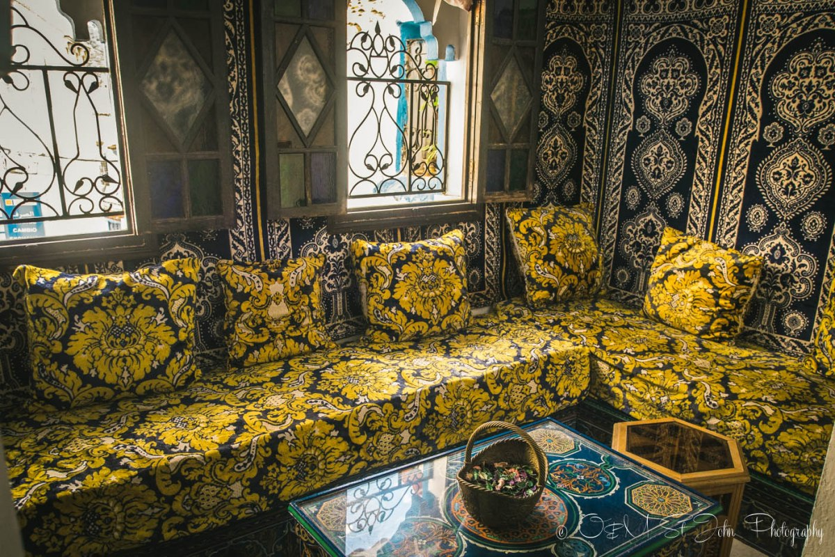 Traditional Moroccan design inside the Maison Hotel, Chefchaouen, Morocco