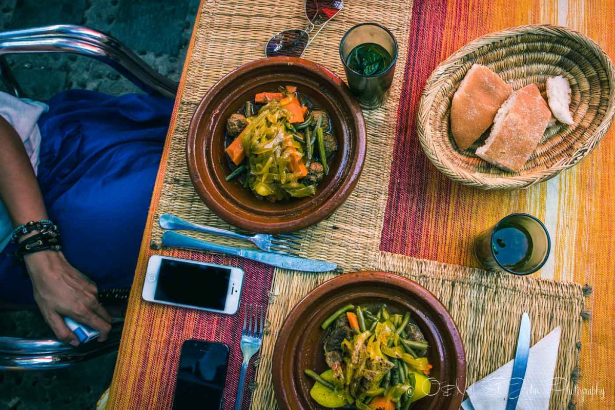 Enjoying delicious meal in Chefchaouen, Morocco