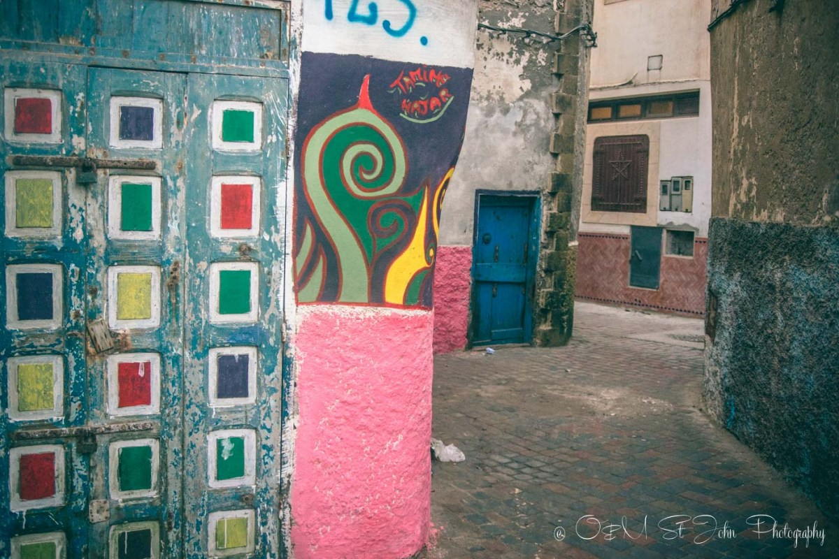 Colourful buildings in Essaouira's medina. Morocco