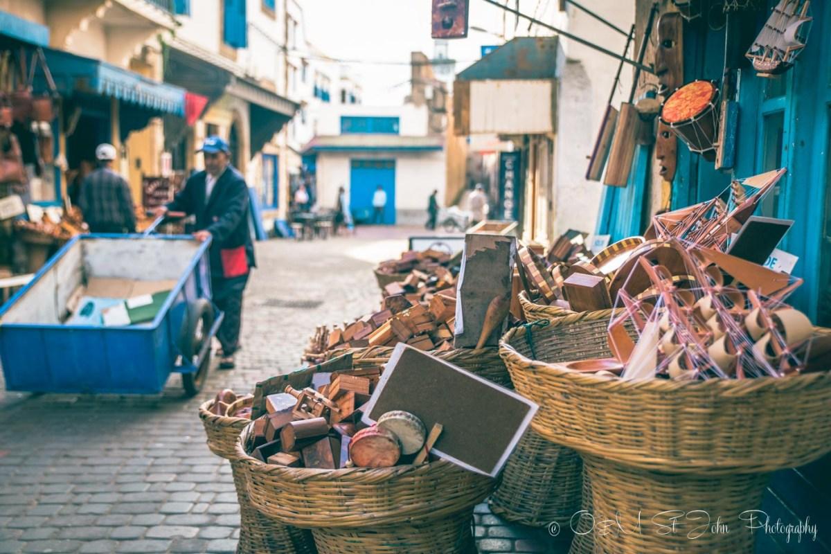 Souvenir shops line the main street in the medina. Essaouira. Morocco