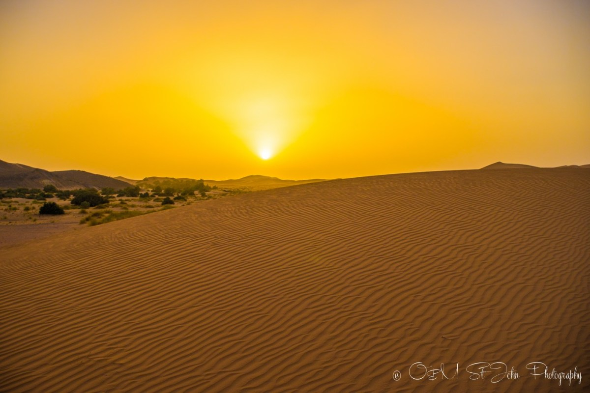 Sunset in Sahara Desert. Erg Chebbi. Morocco