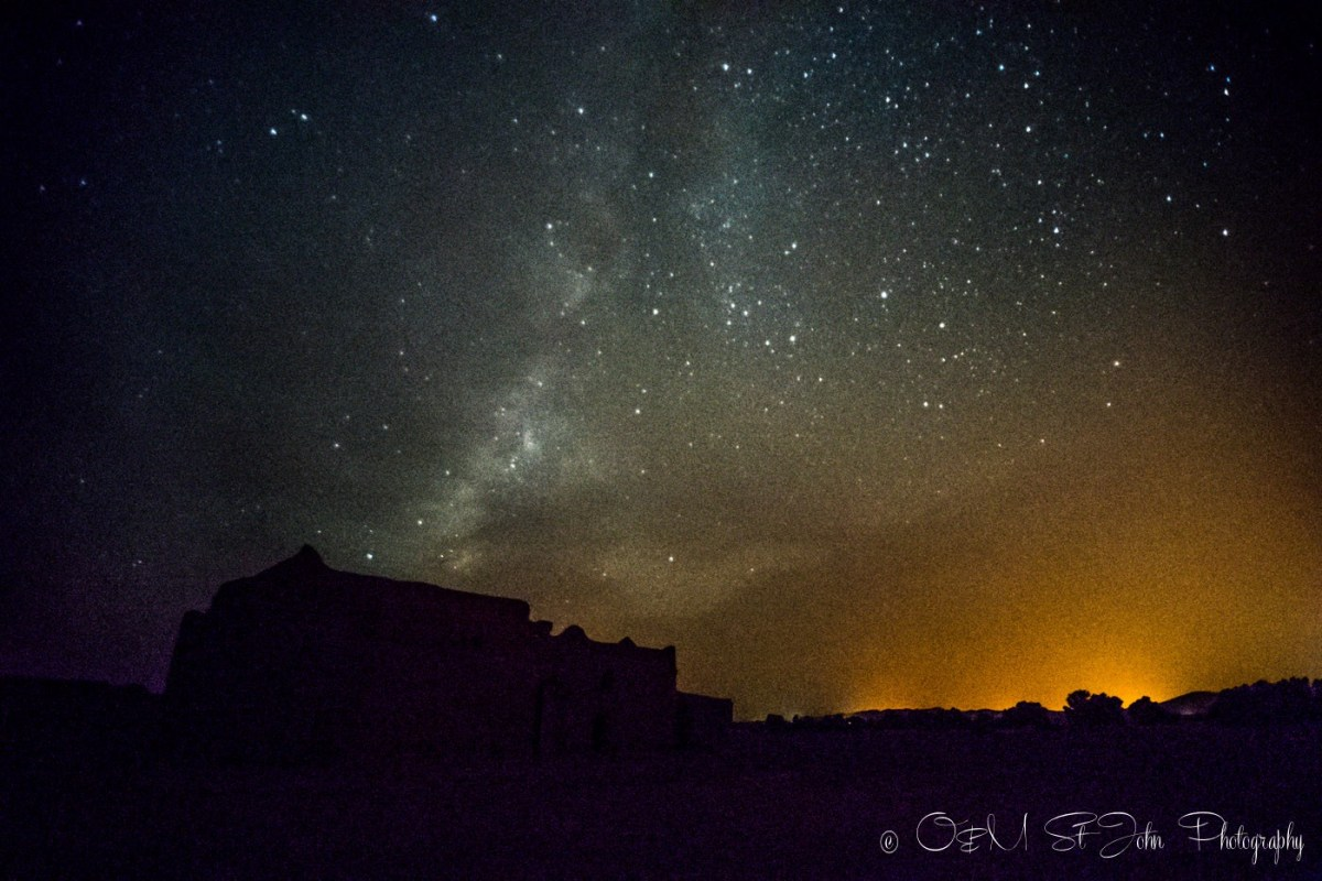 Starry sky over the nomad hut in Sahara Desert. Morocco
