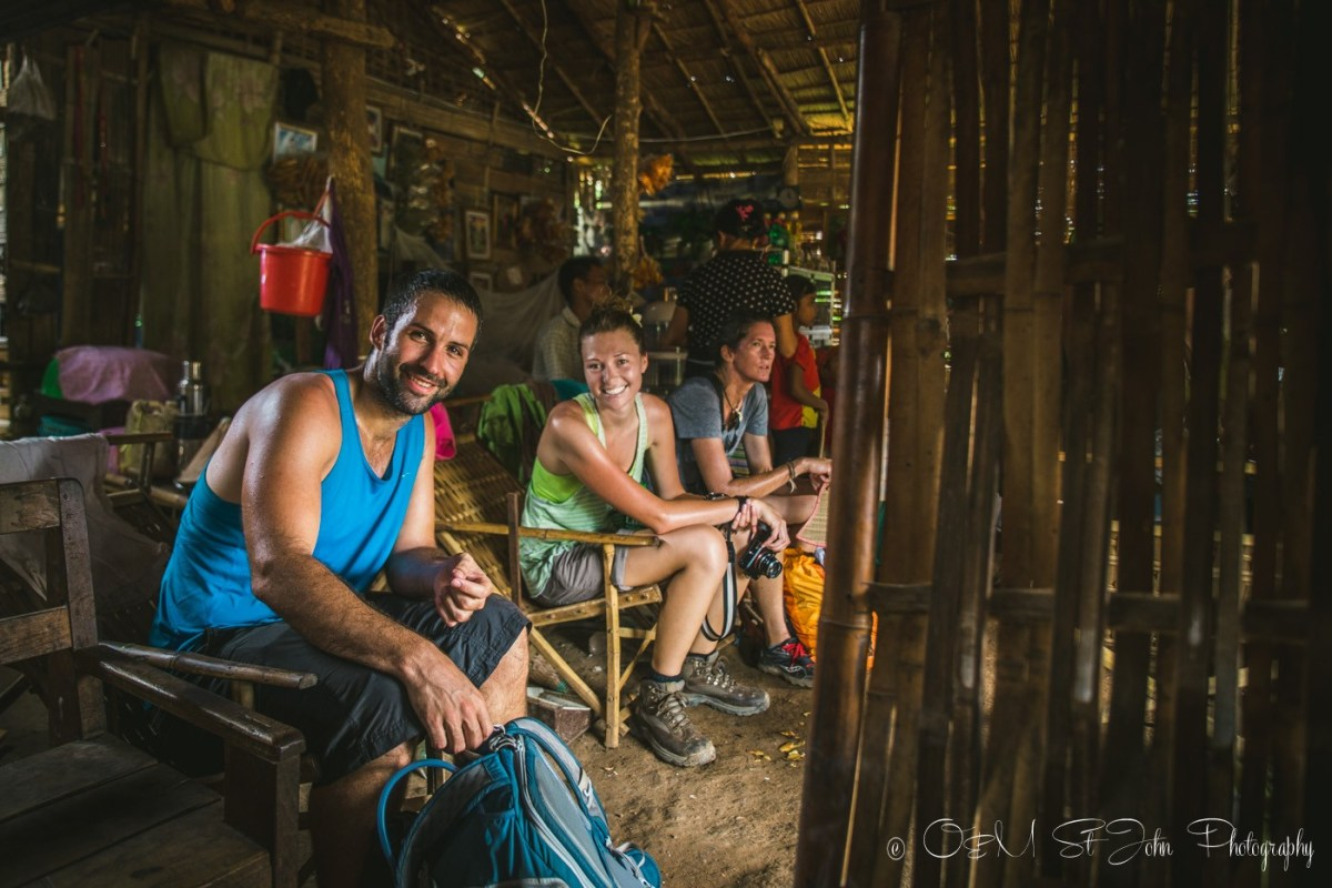 Taking abreak at a tiny shop along the trek to the hill tribe village in northern Myanmar