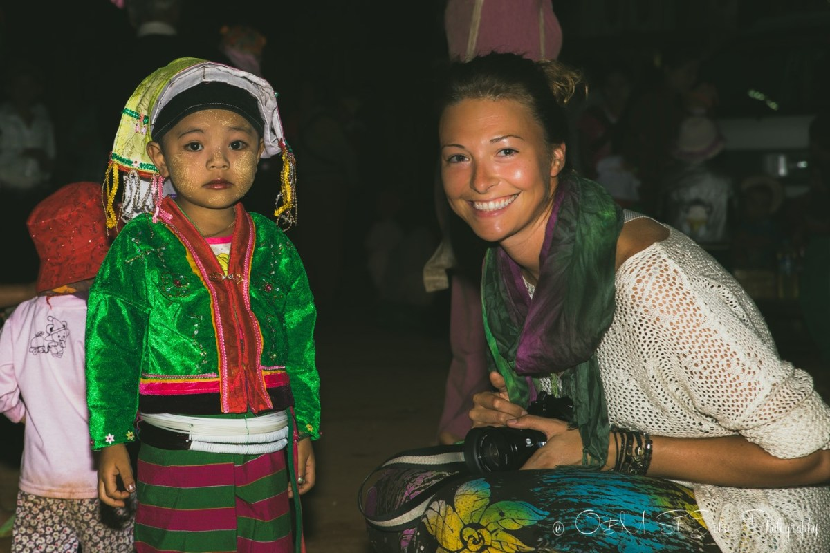 With a local girl from Palaung Tribe in Palaung Hill Tribe village, Myanmar
