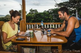 Max & Oksana working on laptops in Inle Lake, Myanmar.