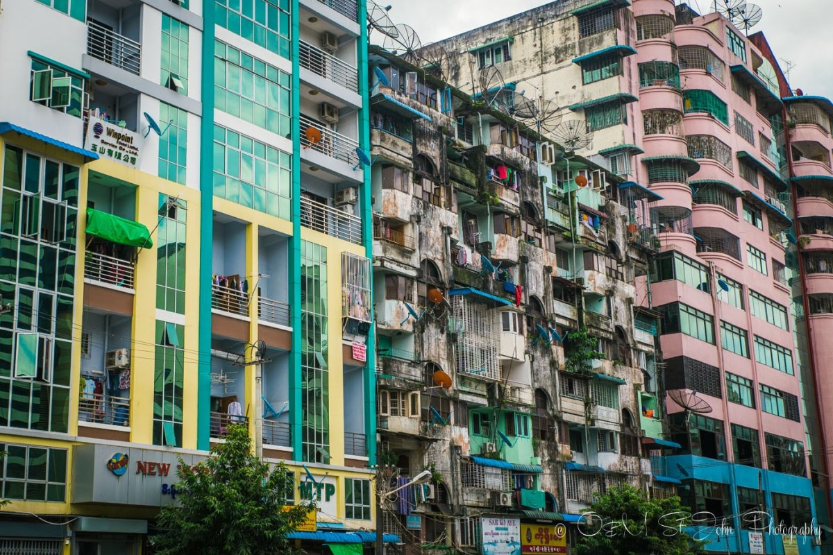 Colourful buildings in Yangon. Myanmar