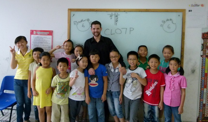 Nick with one of his classes. Photo courtesy of Goats on the Road