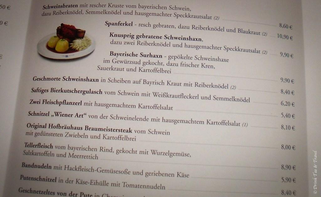 A menu sample at Höfbrauhaus