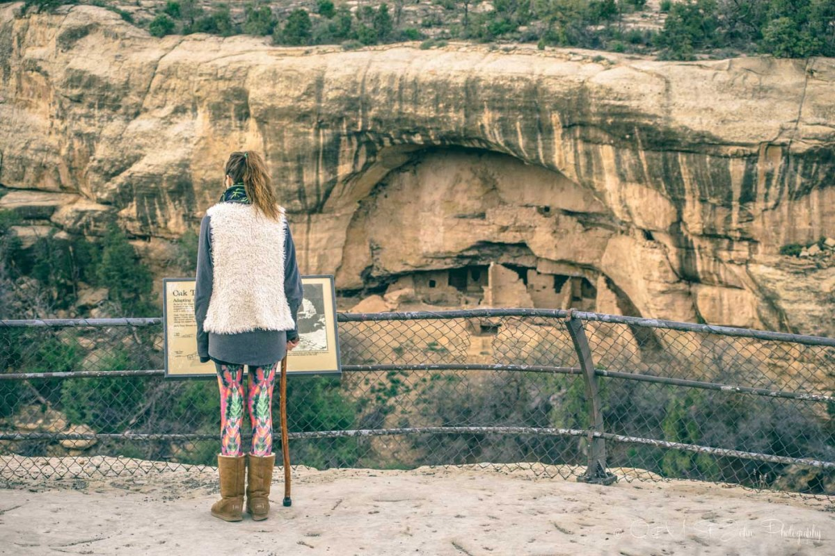 Checking out the remains of the settlement inside the Mesa Verde National Park. Colorado. USA