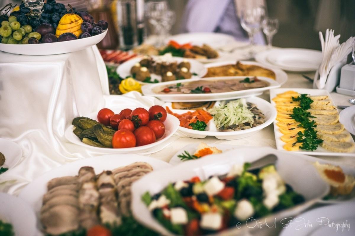 Assortment of food at cousin's wedding in Ukraine