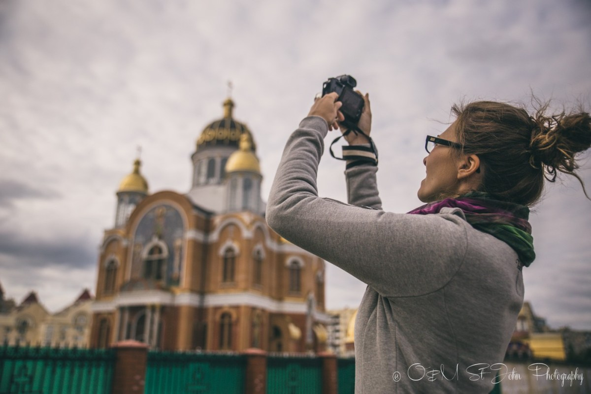 Oksana being a tourist in Kiev. Ukraine