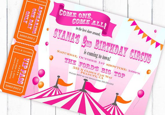 A Carnival \/ Circus Themed Birthday Party Driven by Decor - circus party invitation