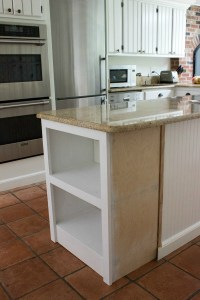 Our Remodeled Kitchen Island with Built-in Microwave Shelf ...