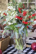 Eucalyptus And White Flowers Table Centerpiece