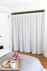 Replacing Bi-fold Closet Doors with Curtains: Our Closet ...