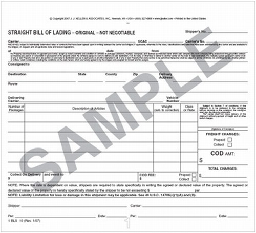 Bills of Lading Short Form Universal Straight - Trucking Fleet - truck bill of lading form