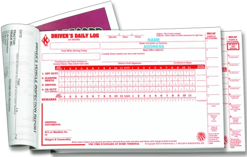 Imprinted Driver\u0027s Daily Logs 2-ply with carbon Detailed DVIR and 70 - truck driver log book template