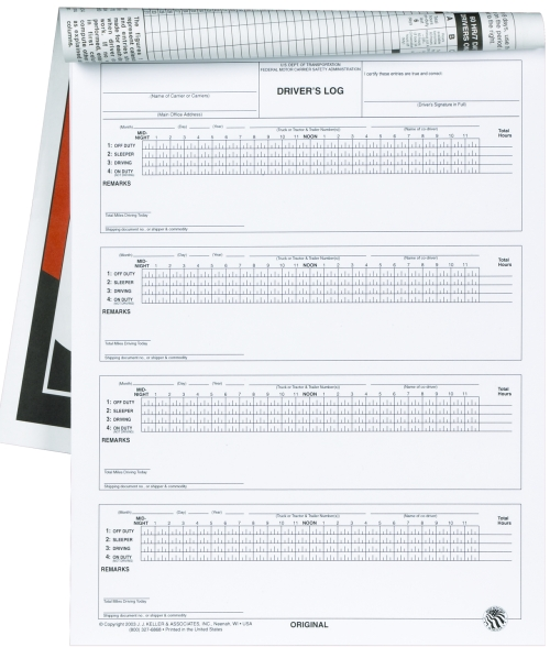671-L Seven-Day Driver\u0027s Log Book 4-Ply With Carbon With Detachable - truck driver log book template