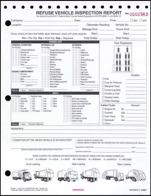 Imprinted Detailed DVIR w Illustrations Refuse Vehicle Inspection - vehicle inspection form