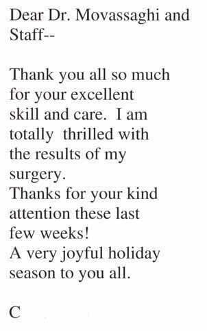 Testimonials - Thank You Cards - Dr Movassaghi - Thank You Letter To Doctor