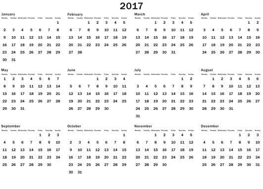 2017 Calendar Printable - Dr Odd