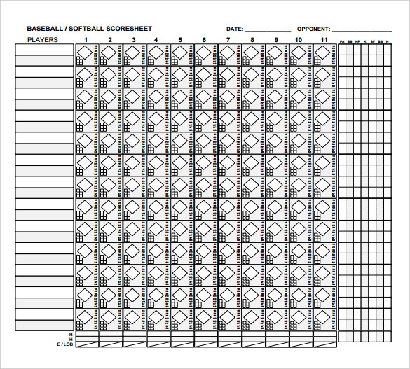 Baseball Score Sheet - 2018 - baseball score sheet with pitch count