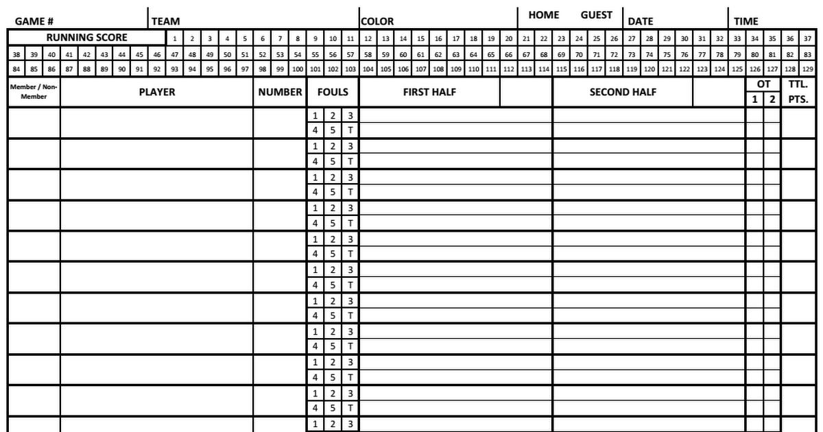 basketball scoring sheet