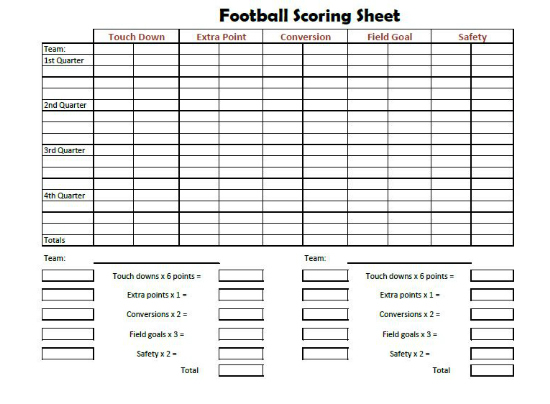 Score Sheet for Football 2018