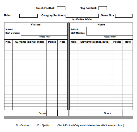 Sample Football Score Sheet - staruptalent -