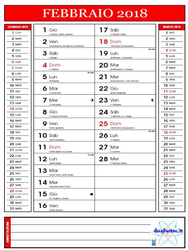 Eccezionale Calendario Mensile 2018 da stampare gratis - MR91