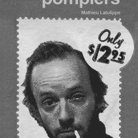 Page couverture du livre : En attendant les pompiers - Mathieu Latulippe. « Only 12.95 $ ». Homme dans la trentaine, un oeil à moitié fermé, cigarette au coin de la bouche.
