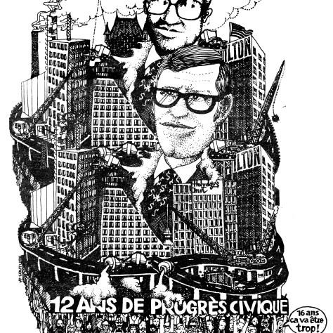 Une affiche produite par le RP en 1977, symbolisant le pouvoir à abattre de l'époque: Le progrès civique.