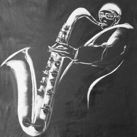 Sax in the city, acrylique sur toile, 2016