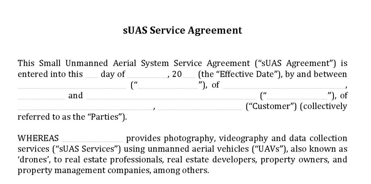 DLP\u0027s Version 20 of Industry Standard sUAS Service Agreement - Hire