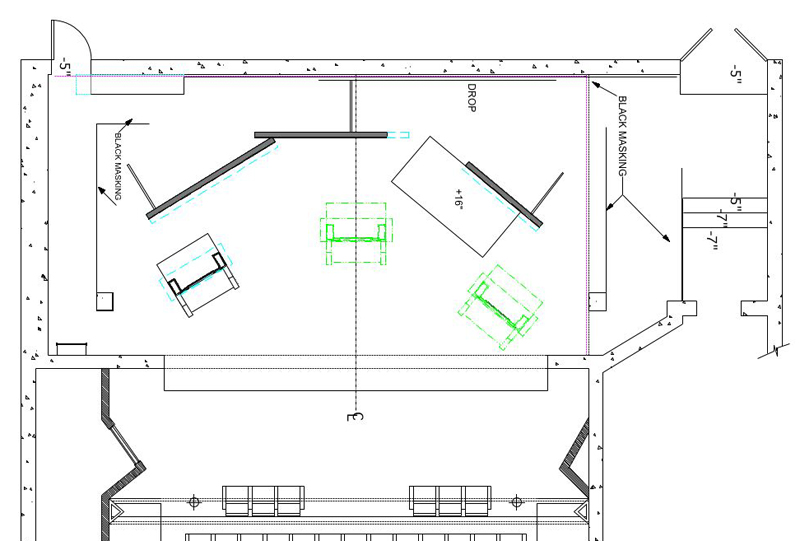 floor plan scene design Ground Plan, Miss Julie, Vassar College - vertical storyboard
