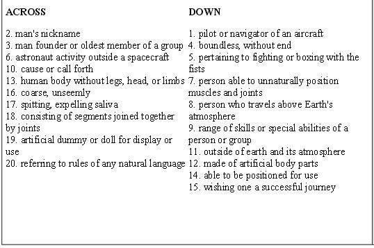 Buzz Lightyear/Buzz Aldrin Comparison/Contrast Vocabulary Crossword