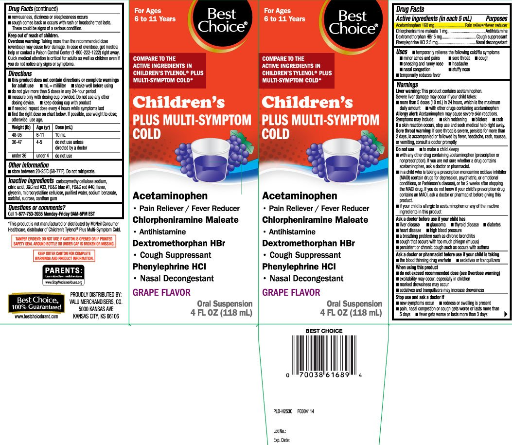 Childrens Plus Multi Symptom Cold (suspension) Best Choice (Valu