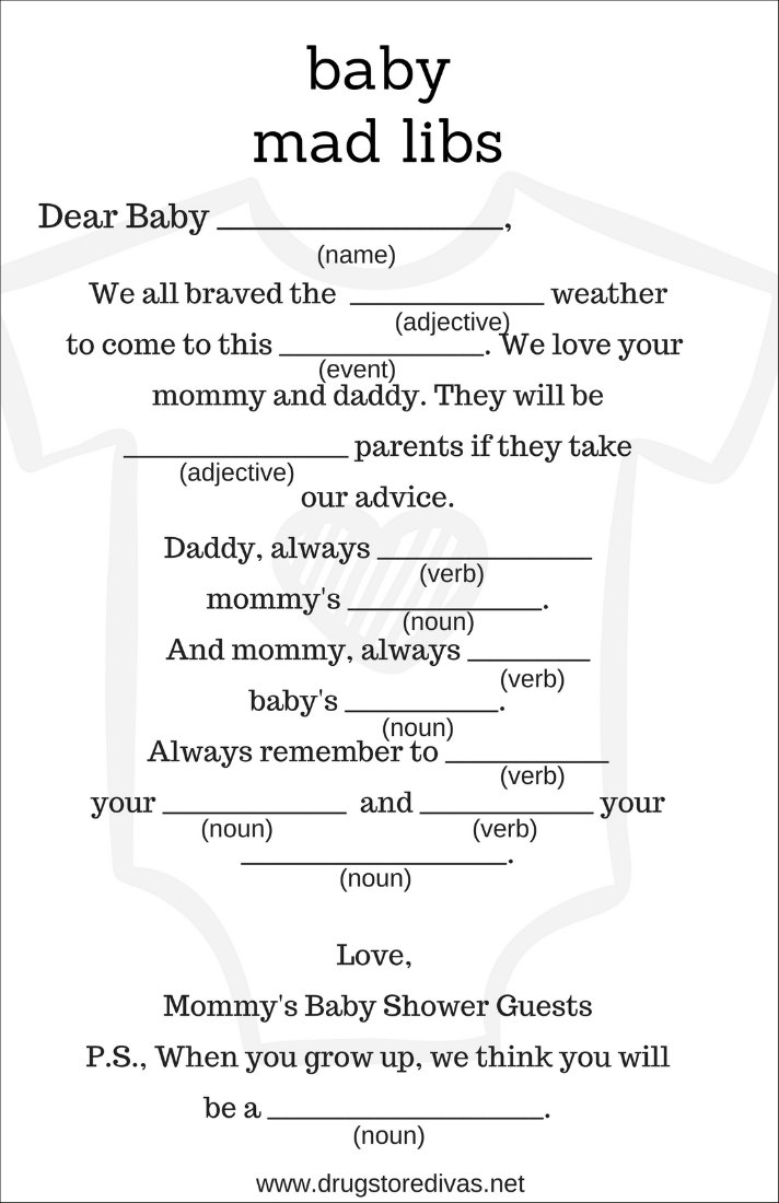 DIY Baby Shower Mad Libs (with free printables) - Drugstore Divas